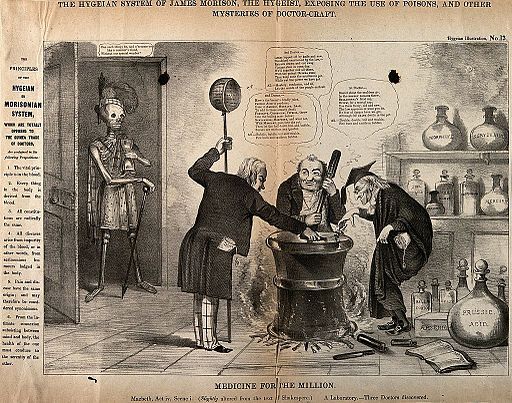 A skeletal figure surveying three doctors around a cauldron, Wellcome V0010898