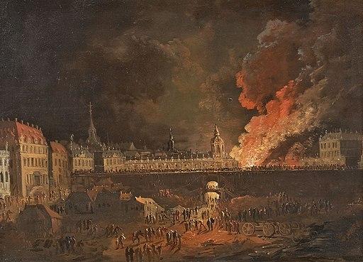 Brand im Dresdner Zwinger D 18Jh