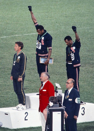 John Carlos, Tommie Smith, Peter Norman 1968cr