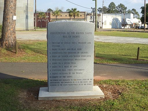 Randolph County Veterans Memorial Park Bill of Rights marker