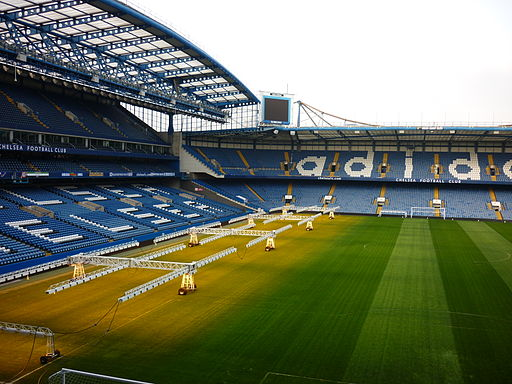 Preparing the pitch at Stamford Bridge
