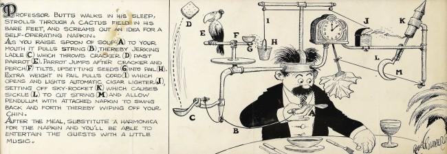 Self-operating napkin (Rube Goldberg cartoon with caption)
