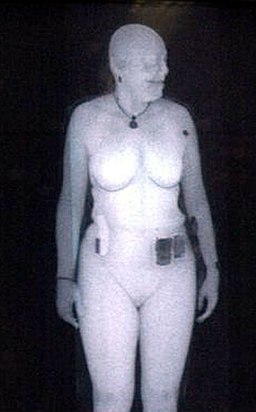 Backscatter x-ray image woman