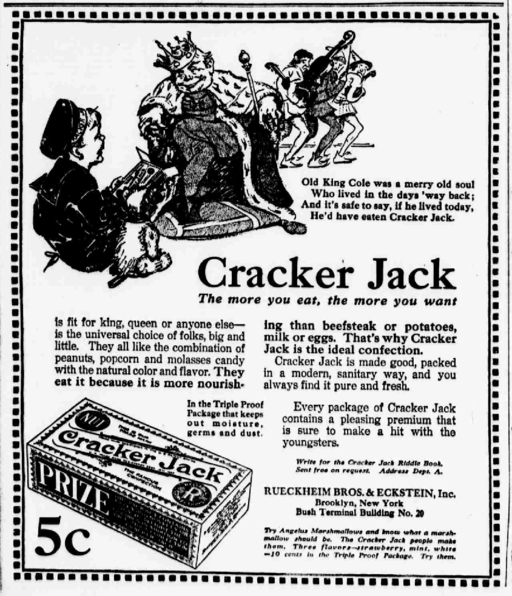 Cracker jack newspaper ad 1916
