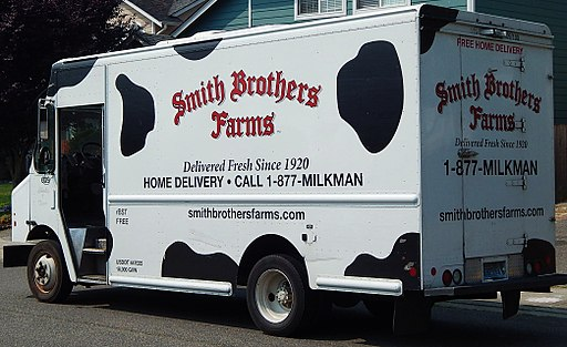 Milk home delivery truck