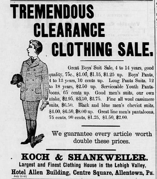 1894 - Koch & Shankweiler Newspaper Ad2 Allentown PA