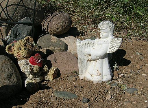 Angel teddy bear memorial