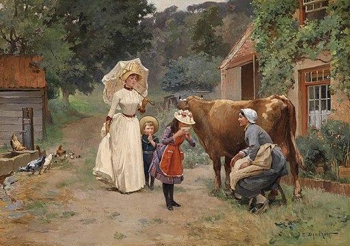 Emile Charles Dameron Besuch am Bauernhof