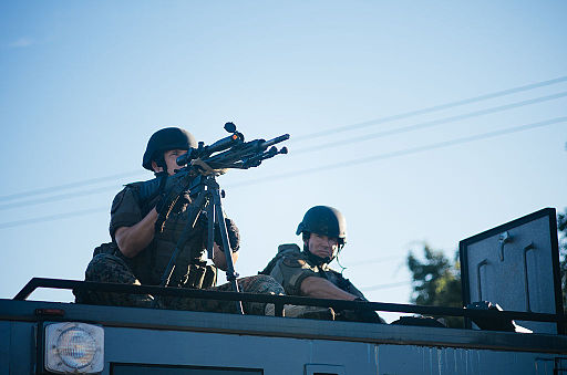 Police sharpshooter at Ferguson protests