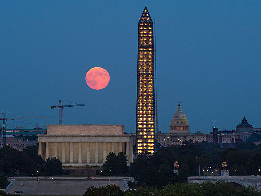 Harvest Moon rises over Washington