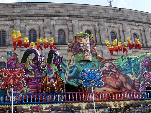 Horror World Circus Exhibition outside Nazi-Era Congress Hall - Nuremberg-Nurnberg - Germany