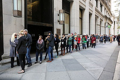 Voters wait in line to cast their ballots in the US presidential election in Philadelphia 14200A