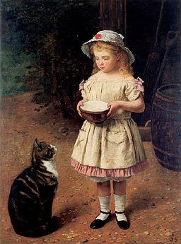 Otto Scholderer Kind mit Katze