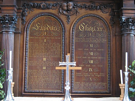 Ten Commandments altar screen in the Temple Church London