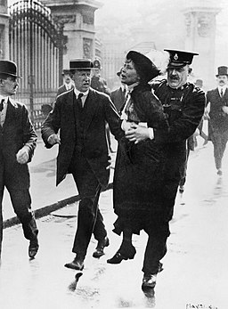 Mrs Emmeline Pankhurst, Leader of the Women's Suffragette movement, is arrested outside Buckingham Palace while trying to present a petition to King George V in May 1914. Q81486