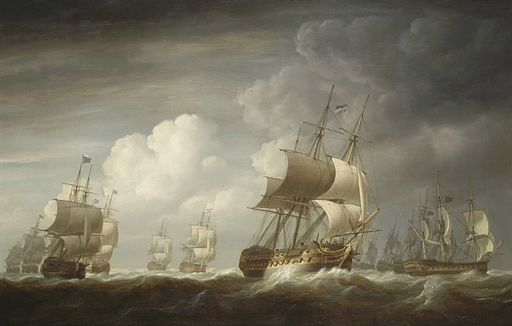 A fleet of East Indiamen at sea